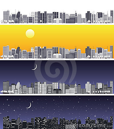 The wide abstract cityscape