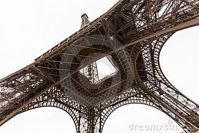 Wide angel view of Eiffel Tower from below