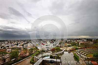 Wide angle cityscape before storm