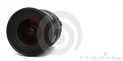 Wide angle lens on white background