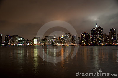Wide angle of New york skyline