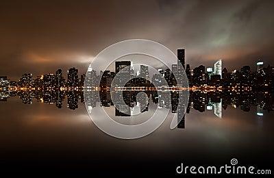 Wide angle of New york skyline