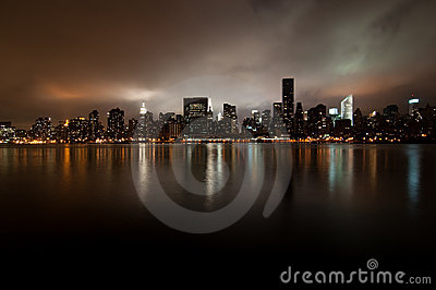 Wide angle of New york skyline at night