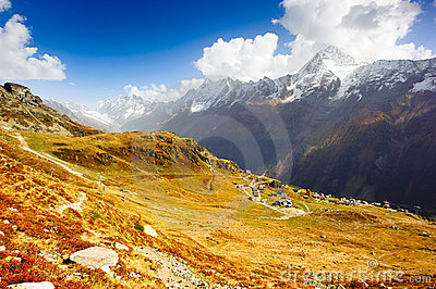 Wide angle panorama of Loetschental valley