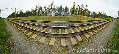 Wide-angle panoramic photo of railroad tracks