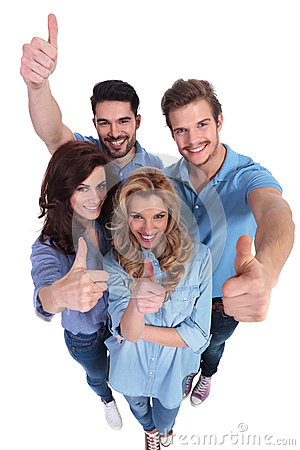 Free Wide Angle Picture Of People Making Ok Sign Stock Photography - 36841762