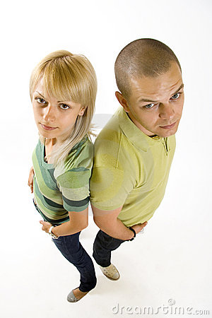 Wide angle picture of a young couple