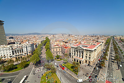 Wide angle shot of  Barcelona