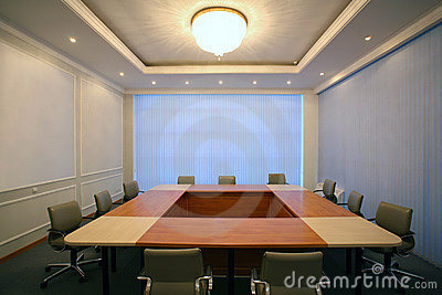 Wide angle shot of empty meeting conference room