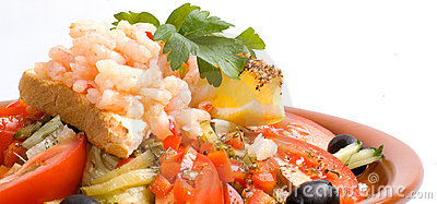 Wide angle shrimp salad