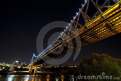 Wide angle under Story Bridge and Brisbane City Editorial Image