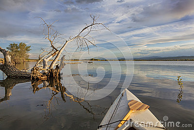 Wide angle view from canoe