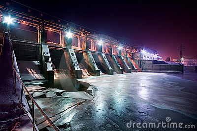 Wide angle view of a dam