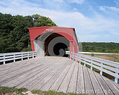 Wide angle view Hogback Bridge Madison County Iowa
