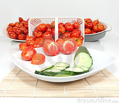 Wide Angle View of Plated Tomatoes