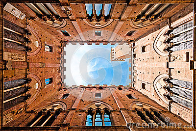 Wide angle view of Torre del Mangia, Siena, Italy