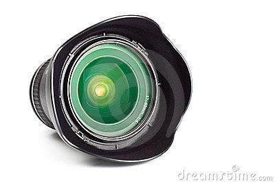 Wide angle zoom lens with hood