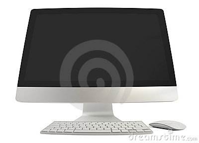 Wide Angled Computer With Keyboard And Mouse