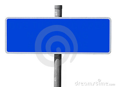 Wide blue blank sign.