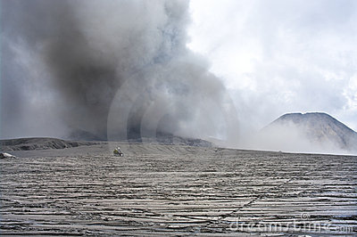 Wide caldera and vulcanos, Java, Indonesia
