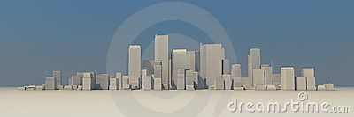 Wide Cityscape Model 3D - Slightly Foggy