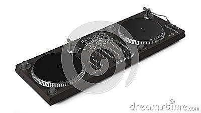 Wide DJ mixer with two vinyls
