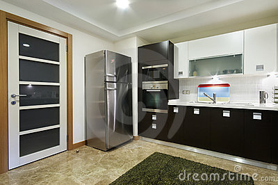 Wide Domestical Kitchen with Door