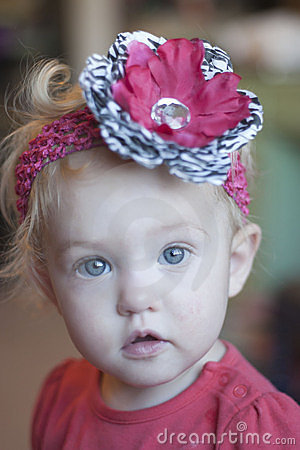 Wide-eyed toddler girl
