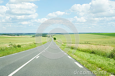 Wide landscape with a road