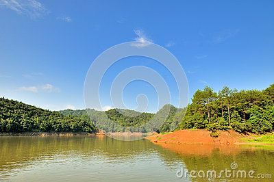 Wide landscape in Taining JinHu Lake area, China