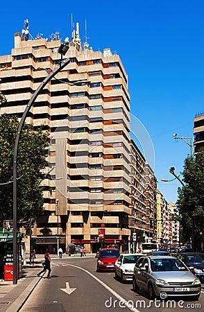 Wide modern street in spanish city. Murcia