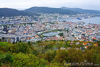 Wide Panorama Of Bergen, Norway Royalty Free Stock Photos - Image: 13293008