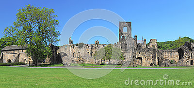 Wide panorama of Kirkstall Abbey ruins, Leeds, UK