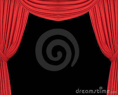 Wide Red Theatre Curtains