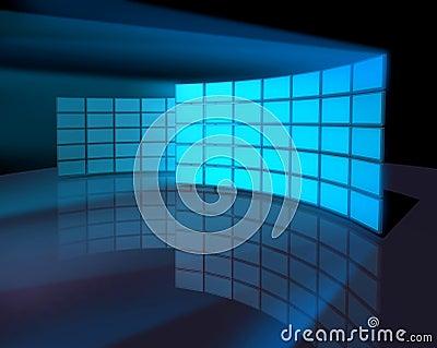 Wide screen monitor panel walls