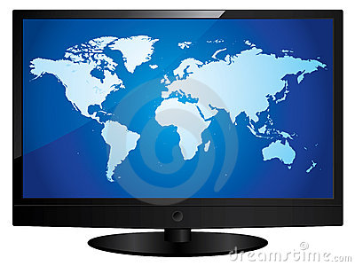 Wide screen television with world map