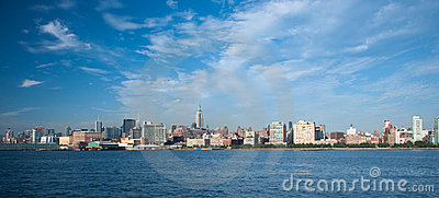Wide shot  of New york city skyline