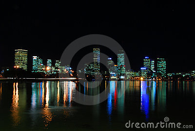 Wide shot of Perth City night