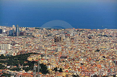 Wide view of barcelona spain