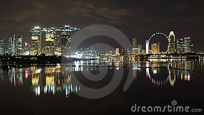Wide view of cityscape by Marina Bay