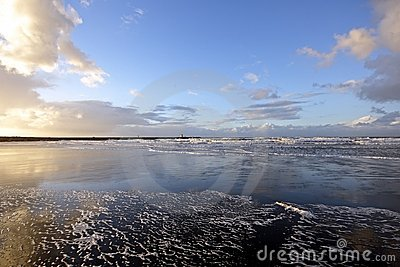 Wide view at the north sea in Holland