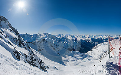 Wide view on winter alpine valley