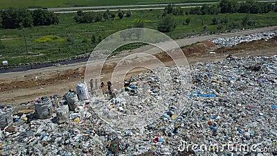 Widok z lotu ptaka na Å›mieci. Gulls Feed on Food Waste. Duża ilość Å›mieci w miejscu sortowania zdjęcie wideo