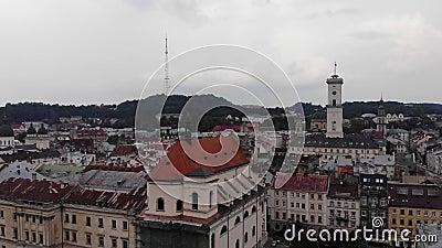 Widok z lotu ptaka stary Europejski miasto Lviv, Ukraina Śródmieście, urząd miasta i architektura, zbiory