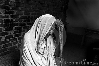 Widow in a medical camp Editorial Photography