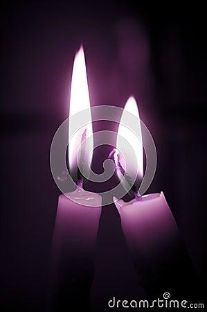 świeczki miłość purpur