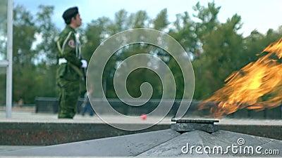 Wiecznie płomienia uzbrojony ochroniarz i pomnik 4K zawodnik bez szans