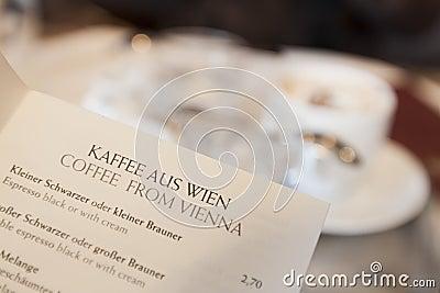 Wiedeń kawy menu