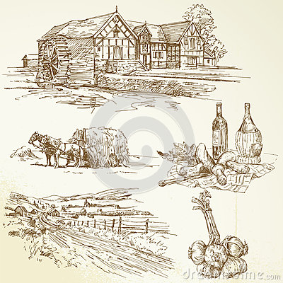 Wiejski krajobraz, rolnictwo, stary watermill