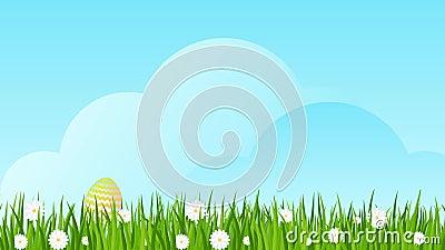 Wielkanocni jajka na zielonej trawie z stokrotkami zbiory